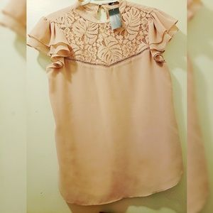 Tops - Dusty rose/nude blouse lace